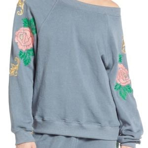 NWT Wildfox Sommers Sweatshirt - Rose embroidered